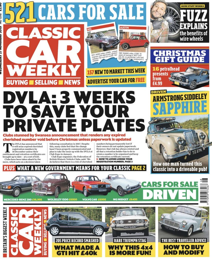 Classic Car Weekly Cover 27 November 2019